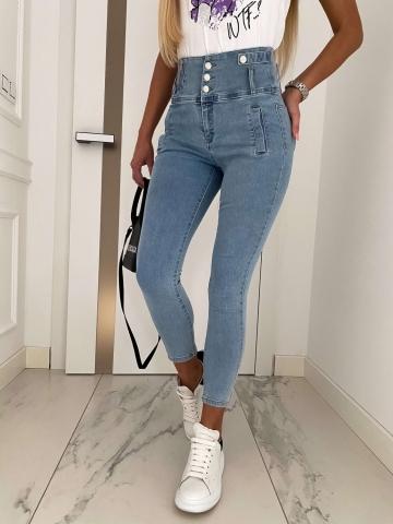 Spodnie Jeans wysoki stan Pearls