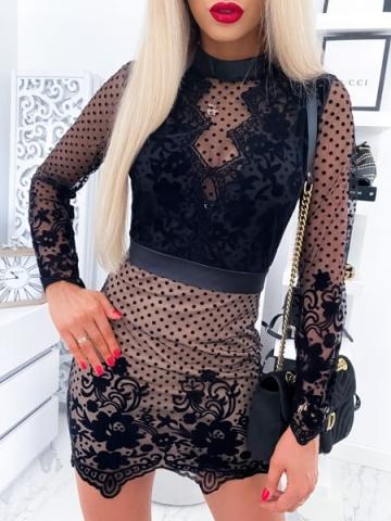 Sukienka koronkowa beżowo czarna