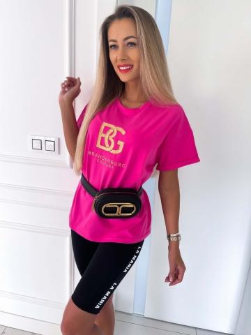 T-shirt Fuksja ze złotym naszyciem