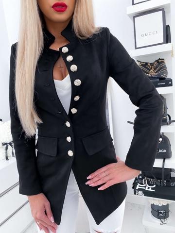Czarny taliowany płaszcz z ozdobnymi guzikami