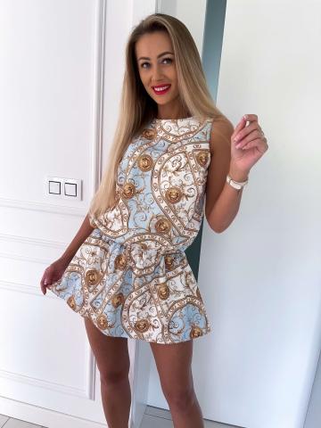 Sukienka z szortami biało-niebieska w złote monety
