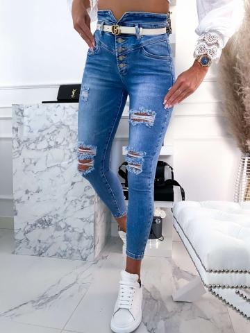 Spodnie Jeans rurki z dziurami wysoki stan