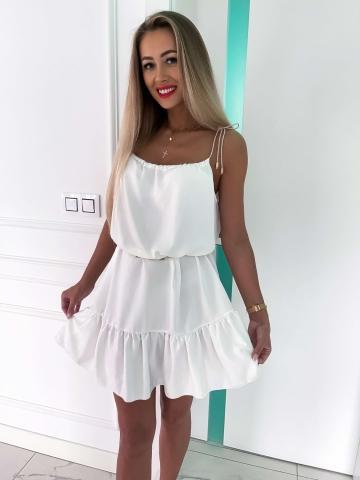 Biała zwiewna sukienka na sznurkach Summer