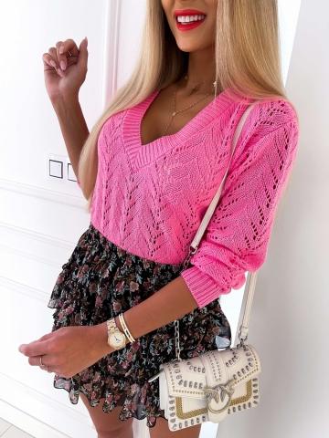 Ażurowy sweter Pink Barbie