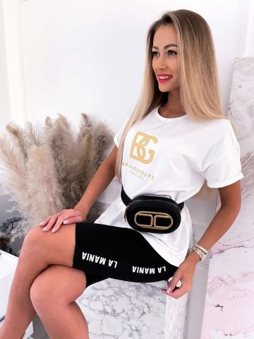 T-shirt Kremowy ze złotym naszyciem