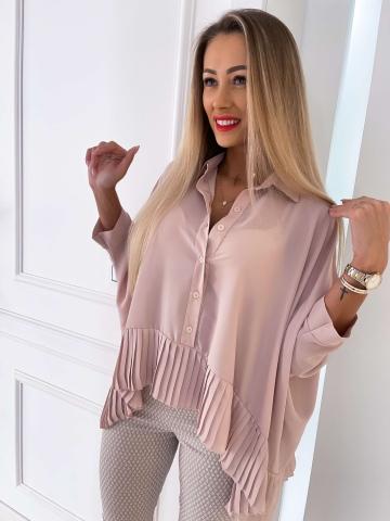 Koszula damska z rękawami typu nietoperz Beige