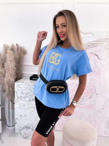 T-shirt Niebieski ze złotym naszyciem