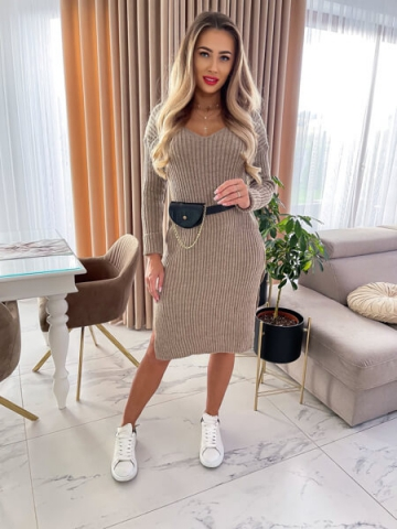 Sukienka sweterkowa Bocca z rozcięciami