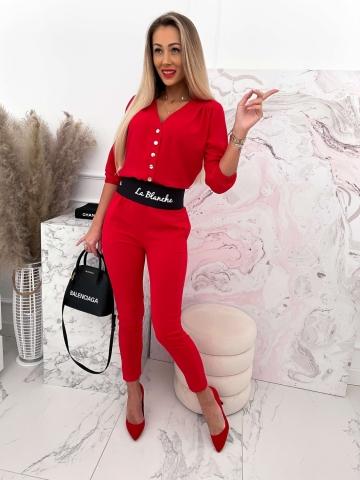 Czerwony elegancki kombinezon La Blanche
