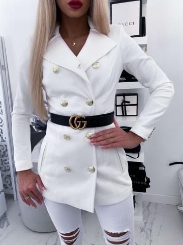 Biały Płaszcz zamszowy LUX