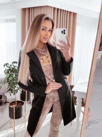 Czarny damski płaszcz La Perla