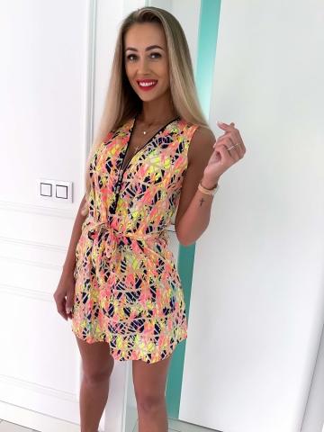 Letnia Neonowa Sukienka Aztek