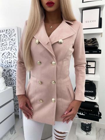 Pudrowy płaszcz zamszowy LUX