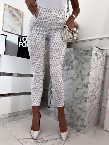 Eleganckie spodnie biało-szare Lola