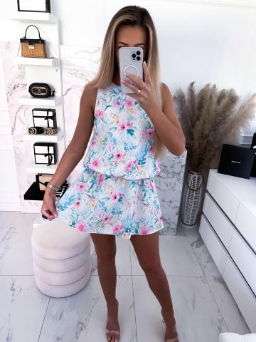 Sukienka z szortami biała w kwiaty i liście