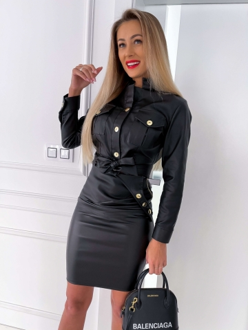 Czarny komplet woskowany kurtka+spódnica
