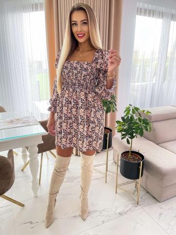 Sukienka w kwiaty Mia z długim rękawem