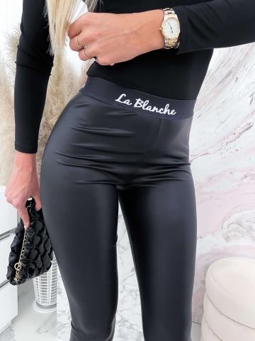Czarne woskowane spodnie La Blanche MAT