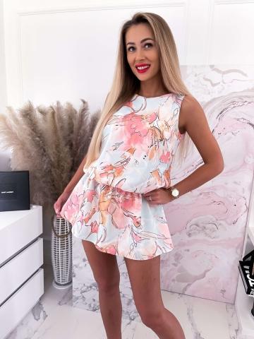 Sukienka z szortami pastelowa w kwiaty