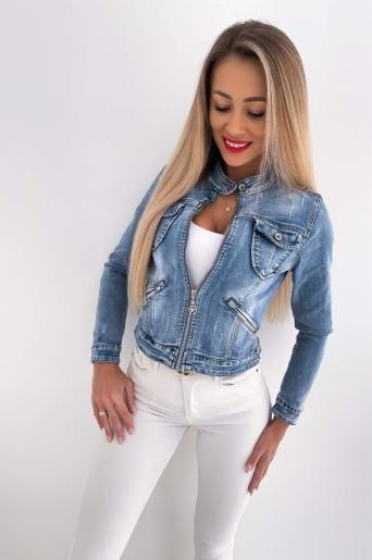 Kurtka jeans zameczki z przetarciami