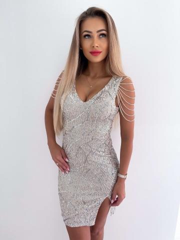 Cekinowa sukienka Silver z koralikami