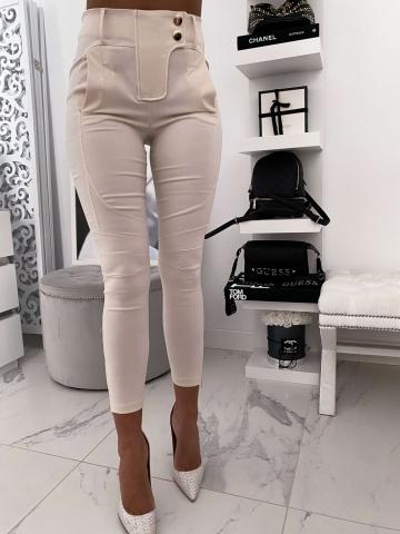 Beżowe eleganckie spodnie zameczki