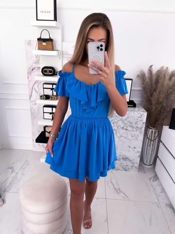 Sukienka niebieska z falbankami Maja