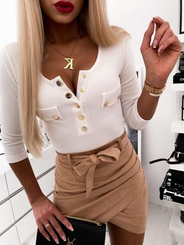 Bluzka Biała Napy kieszonki