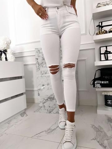 Białe spodnie z pęknięciami Push-Up