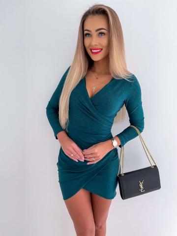 Zielona brokatowa sukienka Bella z długim rękawem