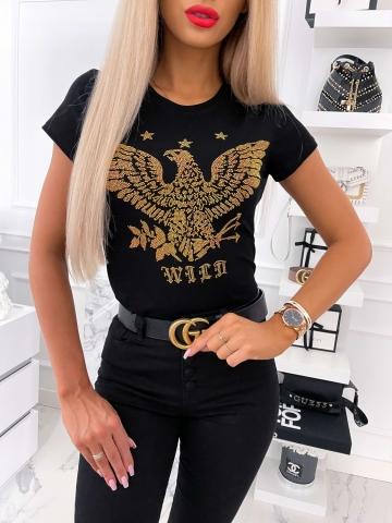 Czarny T-shirt cekiny Eagle