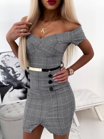 Sukienka w kratę z paskiem Crisa