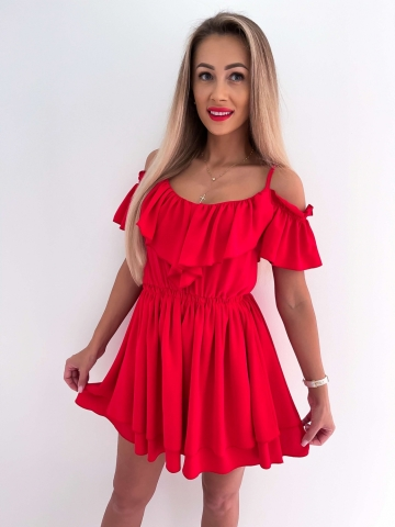 Sukienka czerwona z falbankami Maja