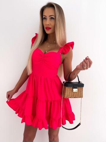Sukienka rozkloszowana Katris neonowy róż