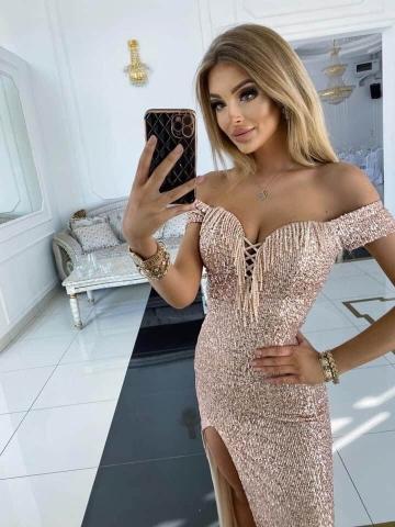 Długa cekinowa sukienka hiszpanka Riviera Gold