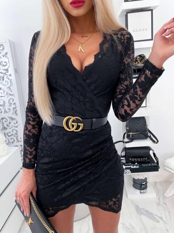 Czarna koronkowa sukienka zakładana Paris