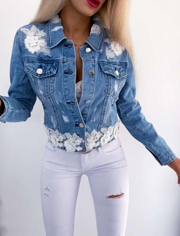 Kurtka Jeans z elementami koronki