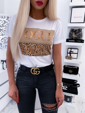 Biały T-shirt Vogue