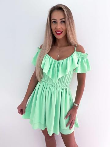 Sukienka zielona z falbankami Maja
