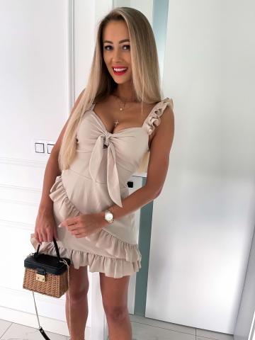 Beżowa Sukienka La Perla z falbankami