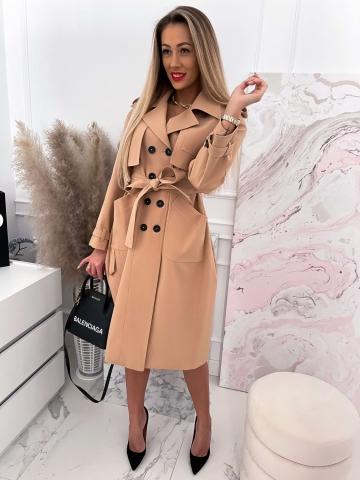 Długi damski płaszcz Camel Edan