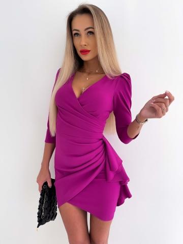 Purpurowa sukienka zakładana Lukrecja