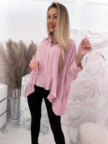 Koszula damska z rękawami typu nietoperz Pink