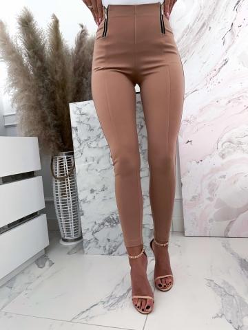 Beżowe eleganckie spodnie z wysokim stanem