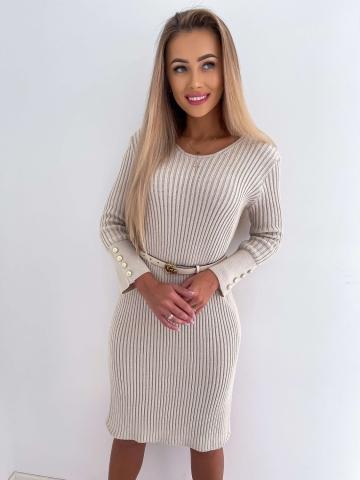 Beżowa sweterków sukienka Midi Loci