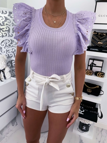 Liliowa bluzka butterfly z gipiurą