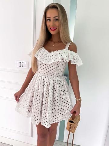 Biała ażurowa sukienka z karmelowym podszyciem Livia