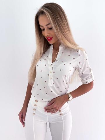 Koszula biała w karmelowe serca La Blanche