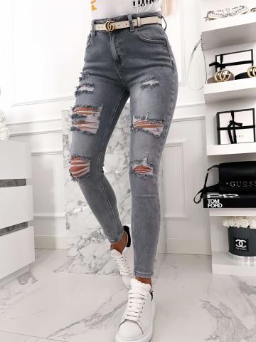 Szare spodnie Jeans z dziurami