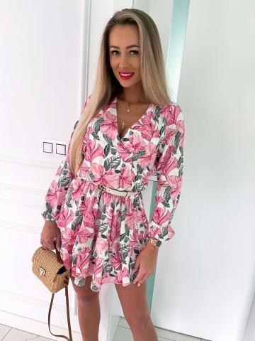 Sukienka w duże różowe kwiaty Bocca